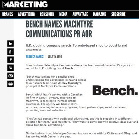 Marketing Magazine – Bench